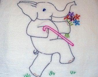 Elephant Hand Embroidered Tea Towel