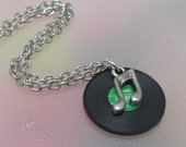 Dusty 45s tiny, miniature, vinyl,record, music,necklace