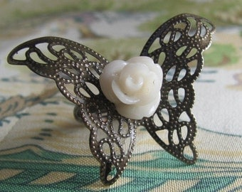 Signs of Life, ivory,rose, and brass butterfly ring SALE 20% off