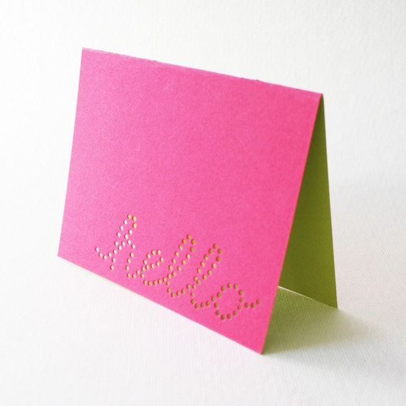 pink hello cards ... set of 3 blank cards