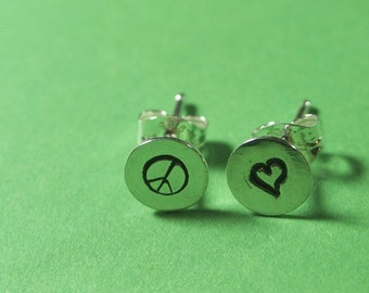 Sterling Stud Peace and Love Earrings