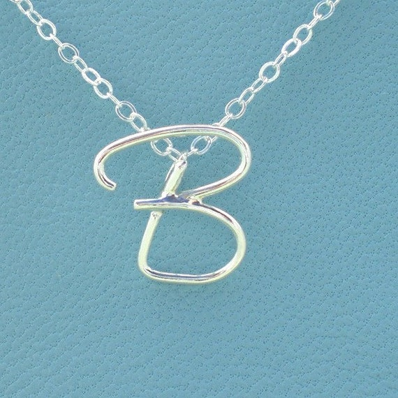 Initial Letter Necklace in Sterling Silver