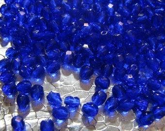 Czech Fire Polished Glass Beads 4mm  Cobalt Blue Beads 50 Beads