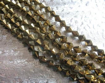 Bi-Cone Faceted Glass 6mm  Gold Glass Beads 80 Beads unstrung
