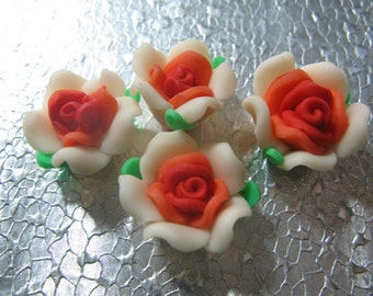 Orange Red Peach  Rose Flower Beads  ( 6 ) 20mm Fimo Polymer Clay Flower Beads