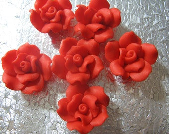 Red  Rose Flower Beads  ( 6 ) 20mm Fimo Polymer Clay Flower Beads