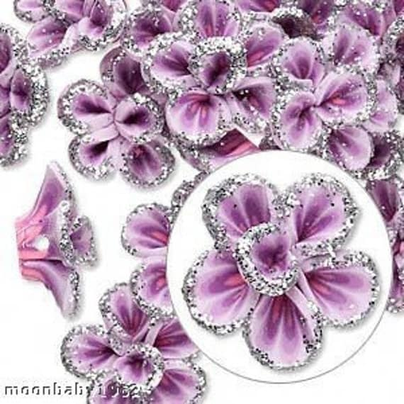 Lavender - Purple Rose Flower Beads ( 12 ) 15mm