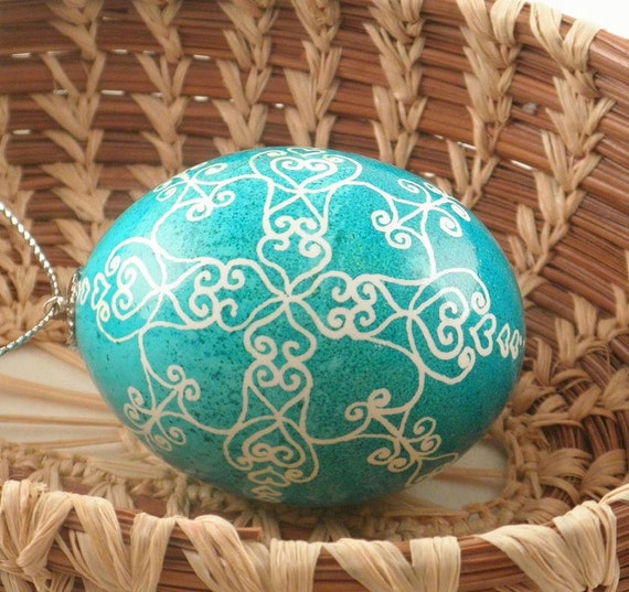 Blue Heart Snowflake Pysanka Ornament / Ukrainian Easter Egg