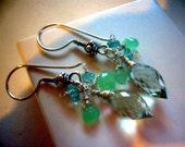 SEASCAPE Praisiolite Chrysoprase and Apatite Earrings