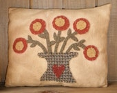 Primitive Pot of Flowers Appliqued Pillow PDF E-Pattern Sewing