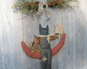 Primitive Cat Mouse Watermelon Hanger