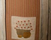 Primitive Towel Pocket Wool Appliqued Embroidery Flowers Pumpkins
