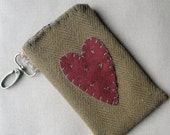 Wool Appliqued Sleeve Heart Cell Phone Camera IPod Protector