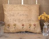 Primitive Stitchery Pillow Flowers Sun