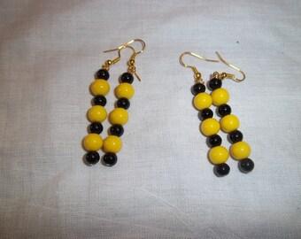 Xicohtencatl Collection Earrings Black Yellow Beads