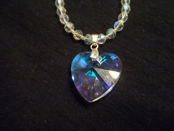 The Heart of the Winter Queen Vintage Crystal Necklace OOAK