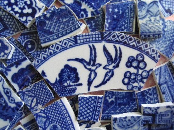 Broken China Mosaic Tiles - HUGE BLuE WiLLoW CoLLeCTiON - 220 ViNTaGE TiLeS recycled china plates