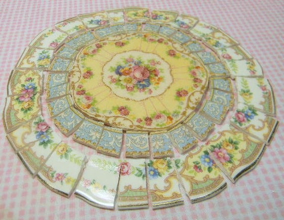 China mosaic tiles shabby chic arrangement broken plates for Shabby chic wall tiles