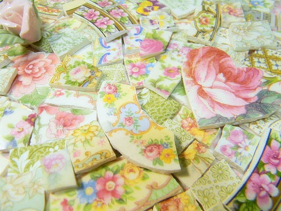 Broken China Mosaic Tiles - THE TiMeLeSS BeAuTY of OLD CHiNA and RoSeS - over 400 Plate Tiles