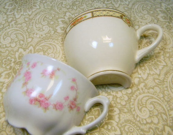 China Mosaic Tiles - 2 ViNTaGE HaLF CUPS - Repurposed OLD chIna tea cups
