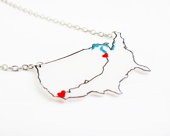 Historic US Route 66 Travel Map Necklace