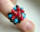 SALE Red Turquoise and Black Cocktail Ring - VickyVK