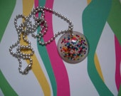 Resin round candy sprinkles pendant necklace 114