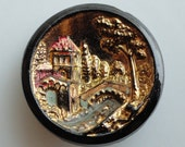 Vintage Venice Scene Black Glass Button