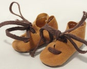 1 5/8 in. Vintage Tan Suede Doll Shoes Brown Laces Unused