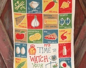 "Carl Tait Vintage Linen Tea Towel ""It's Time to Watch Your Weight"" Calorie Counter"