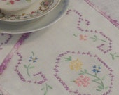 Set of 2 Vintage Table Scarves Doilies Purple Flowers and Crocheted Edges