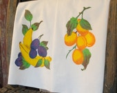 Pair of Hand Painted Fruit Vintage Tea Towels