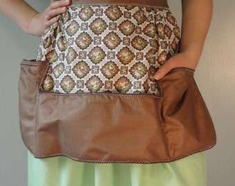 Brown Vintage Apron with Pink and Yellow Flower Vignettes