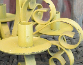 Ochre Painted Shabby Chic Wrought Iron Vintage Candle Holder Candleabra