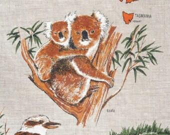Australian Fauna Vintage Linen Tea Towel