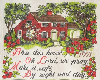 Bless This House Vintage Wall Calendar 1971 Tea Towel