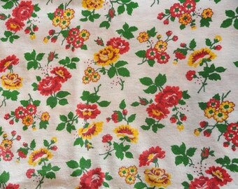 Red and Yellow Wild Roses on White Vintage Flannel 4 yds.
