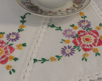 Pair of Vintage Table Scarves Doilies Embroidered Pink and Purple Flowers