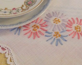Pink Purple Blue Embroidered Flowers Vintage Table Runner Scarf