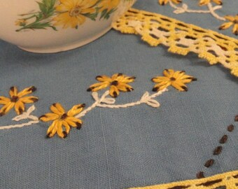Blue Vintage Doilies with Yellow Embroidered Flowers Table Scarves