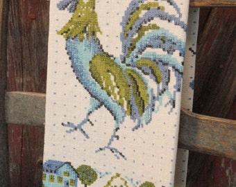 Blue and Green Rooster Vintage Linen Tea Towel