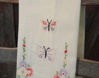 Butterflies and Flowers Vintage Fingertip Towel