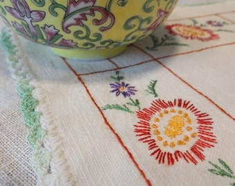 Vintage Table Runner Scarf Red Yellow and Purple Embroidered Flowers