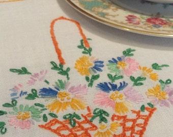 Basket of Flowers Embroidered Vintage Table Runner