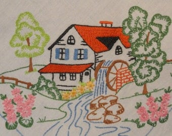 Pair of Reclaimed Vintage Embroidered Panels with Water Mill