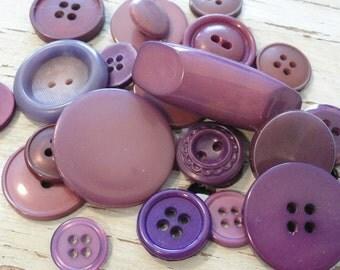 Mismatched Set of 27 Plum Colored  Vintage Buttons