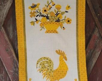 Vintage Luther Travis Tea Towel with Golden Flower Arrangement and Rooster