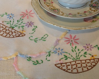 Pair of Embroidered Flower Basket Vintage Table Scarves Doillies