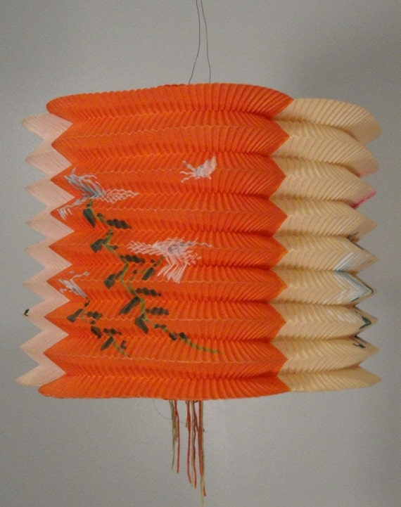 Vintage Japanese Lantern Red Pink Orange Handpainted Flowers Butterflies