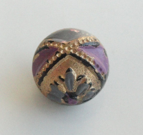 Black Glass Vintage Button with Gold Foil Aqua Blue and Lilac 3/8 in.